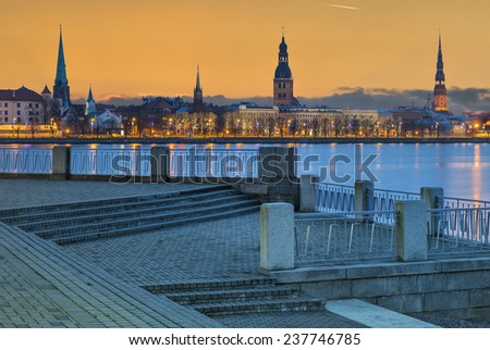 Morning view on old town of Riga city. In 2014, Riga is the European capital of culture - stock photo