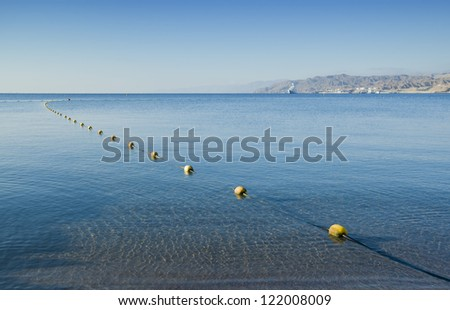 Morning view on the gulf of Aqaba (Red Sea) from northern beach of Eilat, Israel