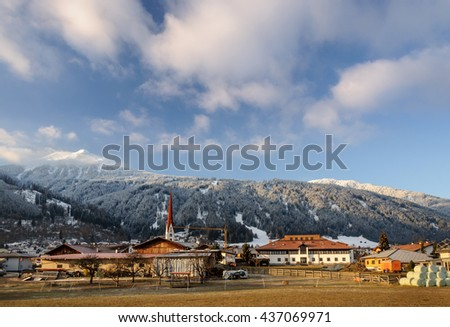 Morning view over the town of Axams in Austria