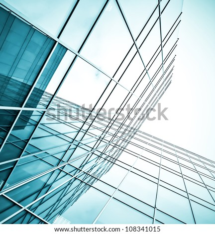 morning view to perspective glass building - stock photo