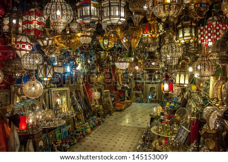Moroccan antique lamps - stock photo