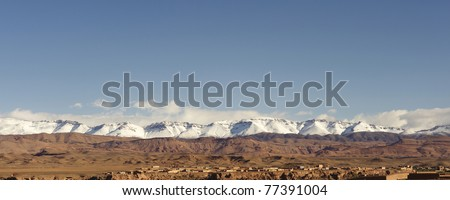 Moroccan Atlas Mountains with snow - stock photo