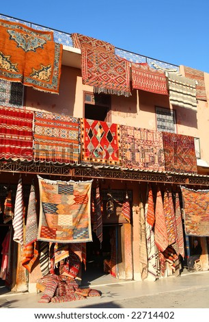 Moroccan Carpets for sale in Marrakech - stock photo