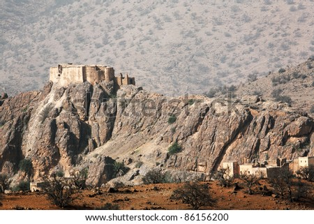 Moroccan casbah in Atlas Mountains, Africa - stock photo