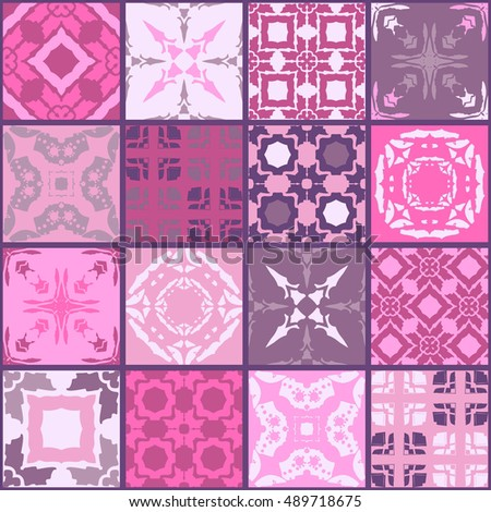 Moroccan ceramic tiles. Cute patchwork pattern. Pillowcase in rose tones.