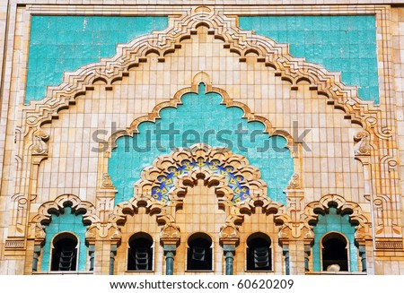 Moroccan ceramic tiles, Hassan II Mosque, Morocco - stock photo