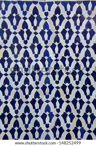 Moroccan darj w wtaf tile pattern in a  riad Fes Morocco - stock photo