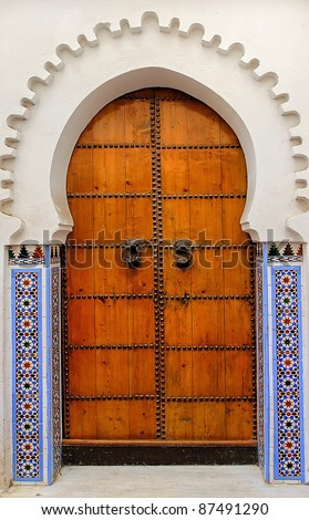 Moroccan decorated door - stock photo