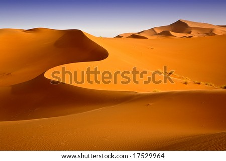 Moroccan desert dune background 05. Blue sky - stock photo