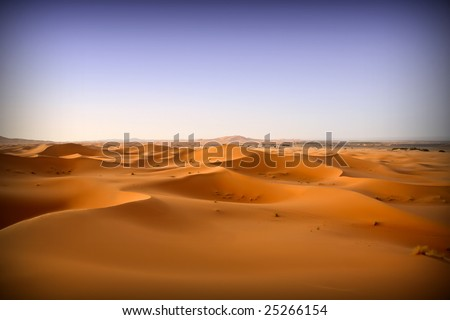 Moroccan desert dunes landscape background 12. Blue sky