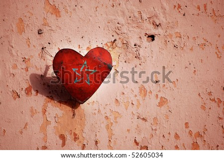 moroccan flag in love heart on wall