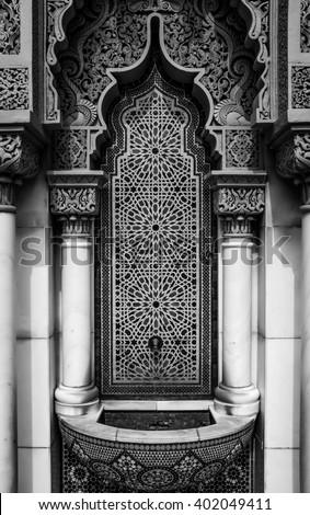 Moroccan fountain tab. - stock photo
