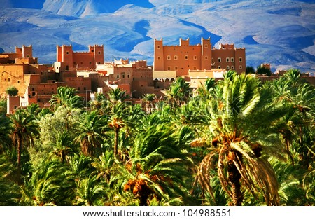 Moroccan kasbah in Atlas Mountains, Africa - stock photo