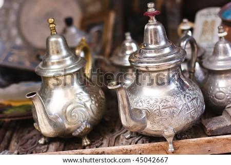 Moroccan Mint Tea Pots - stock photo