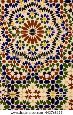 Moroccan mosaic tile, ceramic decoration of mosque, Tanger, Morocco - stock photo
