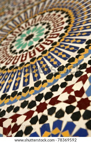 Moroccan mosaic tilework details - shallow dof - stock photo