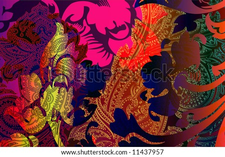 moroccan paisley tapestry print with abstract floral burnout and layered scroll details - stock photo