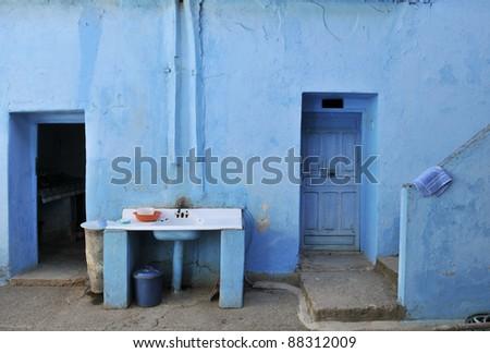 moroccan patio- courtyard - stock photo