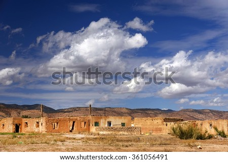 Moroccan plateau landscape, Africa - stock photo
