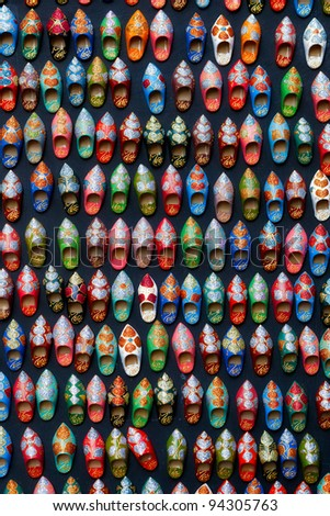 Moroccan shoes handmade magnetic souvenirs texture - stock photo