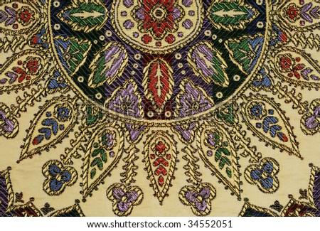 Moroccan silk tapestry - stock photo