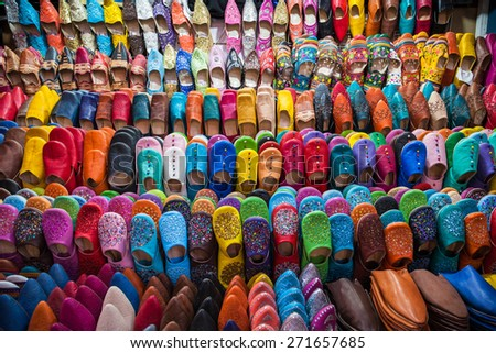 Moroccan Slippers For Sale - stock photo