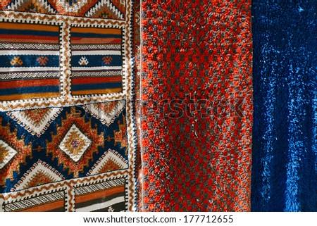 moroccan souk crafts souvenirs in medina, Essaouira, Morocco - stock photo