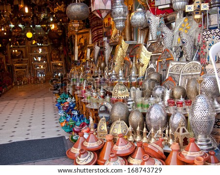 Moroccan store with iron products and utensils - stock photo