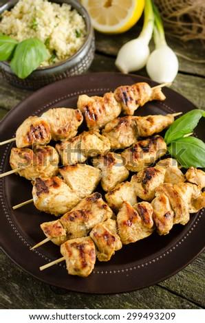 Moroccan style chicken skewers (shaslyk, shaslik)