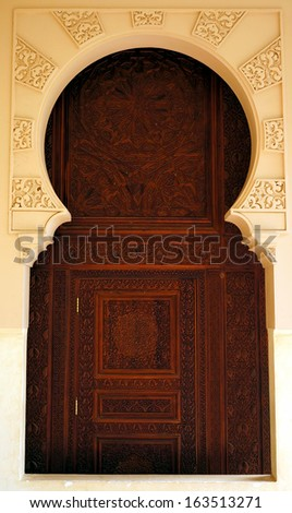 Moroccan style door architecture traditional design - stock photo