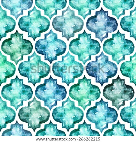 Moroccan style tiles inspired seamless pattern, super high resolution for any size options. Ideal for wallpapers, textiles, wrapping papers, web design, scrapbooking etc. - stock photo