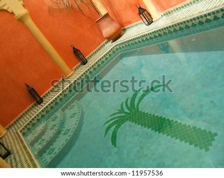 Moroccan swimming pool - stock photo
