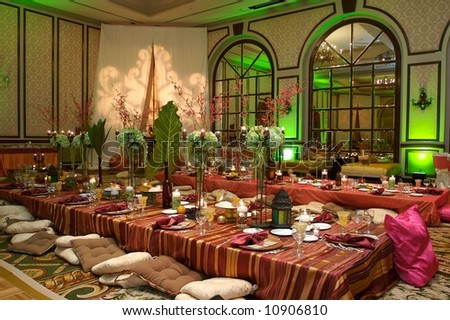 Moroccan Table setting at a luxury wedding reception - stock photo