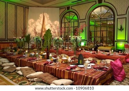 Moroccan Table setting at a luxury wedding reception & Moroccan Table Setting Luxury Wedding Reception Stock Photo u0026 Image ...