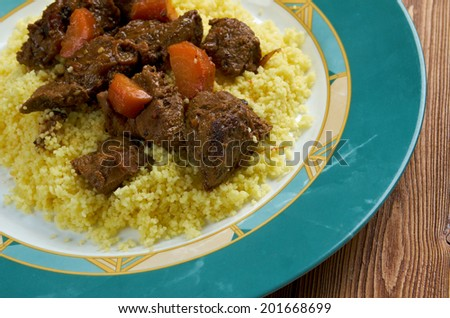 Moroccan Tagine with tender lamb and couscous.