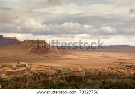 Moroccan vIllage near oasis - stock photo