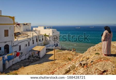 Moroccan village near Tangier on the Gibraltar Strait - stock photo