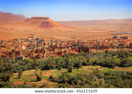 Moroccan  village on the Eastern slopes of the Atlas Mountains at Tinerhir oasis