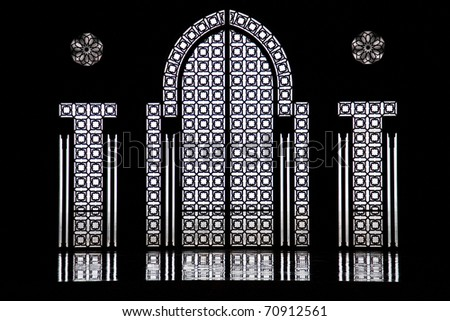 Moroccan Windows in a Mosque - stock photo