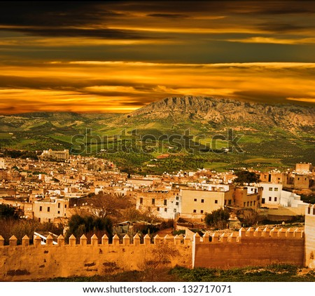 Morocco, a landscape of a city wall in the  Fes
