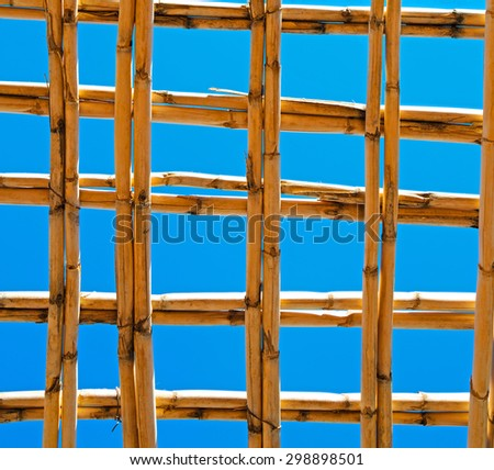 morocco abstract bamboo roof in the    africa  sky - stock photo