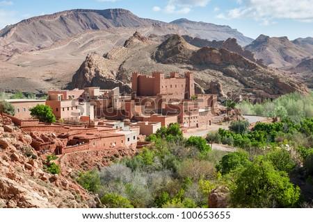 Morocco - Atlas Mountain Village - Draa Valley - stock photo