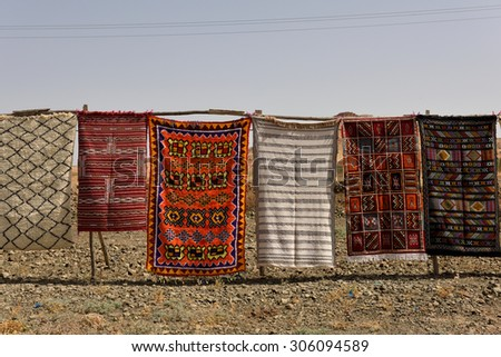 MOROCCO - AUGUST 01: Traditional berber carpets for sale in Morocco, August 01, 2015. Morocco is one of the most popular tourist place in North Africa.