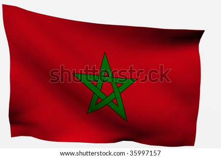 Morocco 3d flag isolated on white background