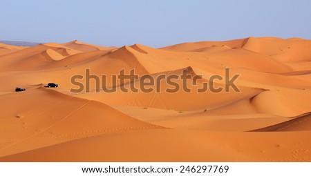 Morocco. Dune riding in Sahara desert - stock photo