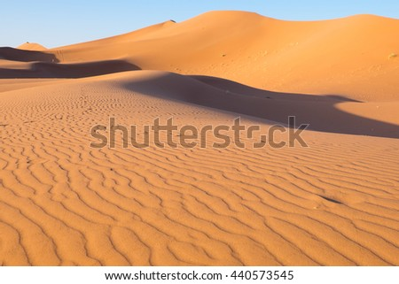 Morocco, Erg Chegaga (or Chigaga) is a Saharan sand dune (approx. 40 km to 15 km wide), the largest of Morocco. Located in the Souss-Massa-Draa area about 50km west of the town of M'Hamid El Ghizlane.