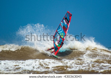 Morocco, Essaouira, Moulay Buzerktoun - May 15, 2016. American Windsurfing Tour competition. Windsurfer Souza, Edvan