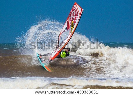 Morocco, Essaouira, Moulay Buzerktoun - May 15, 2016. American Windsurfing Tour competition. Windsurfer Noireaux, Morgan