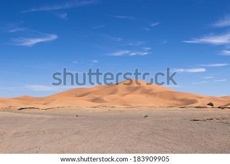 MOROCCO - JANUARY 10, 2014: Sahara desert dunes, clear blue sky - stock photo
