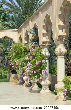 morocco luxurious hotel and garden - stock photo